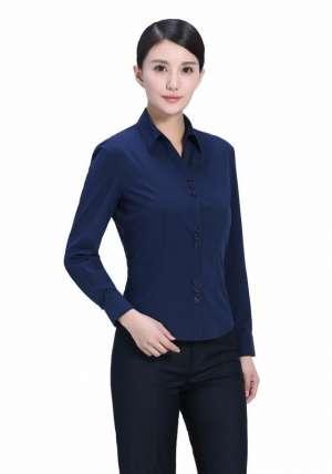 藏蓝V领长袖衬衫